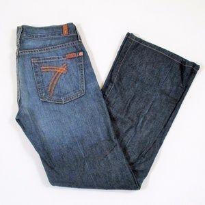 7FAM Dojo 28 Flare Jeans Medium Dark Wash Stretch